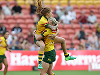 Australia's Simiana Taufu-Kautai, left, and Ali Brigginshaw, celebrate winning the women's Rugby League World Cup final between Australia and New Zealand, Suncorp Stadium, Brisbane, Australia, 2 December 2017. Copyright Image: Tertius Pickard / www.photosport.nz MANDATORY CREDIT/BYLINE : SWPix.com/PhotosportNZ