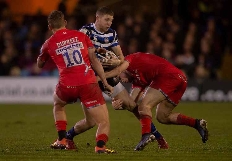 Bath Rugby's Ruaridh McConnochie in action during todays match<br /> <br /> Photographer Bob Bradford/CameraSport<br /> <br /> Gallagher Premiership Round 9 - Bath Rugby v Sale Sharks - Sunday 2nd December 2018 - The Recreation Ground - Bath<br /> <br /> World Copyright &copy; 2018 CameraSport. All rights reserved. 43 Linden Ave. Countesthorpe. Leicester. England. LE8 5PG - Tel: +44 (0) 116 277 4147 - admin@camerasport.com - www.camerasport.com