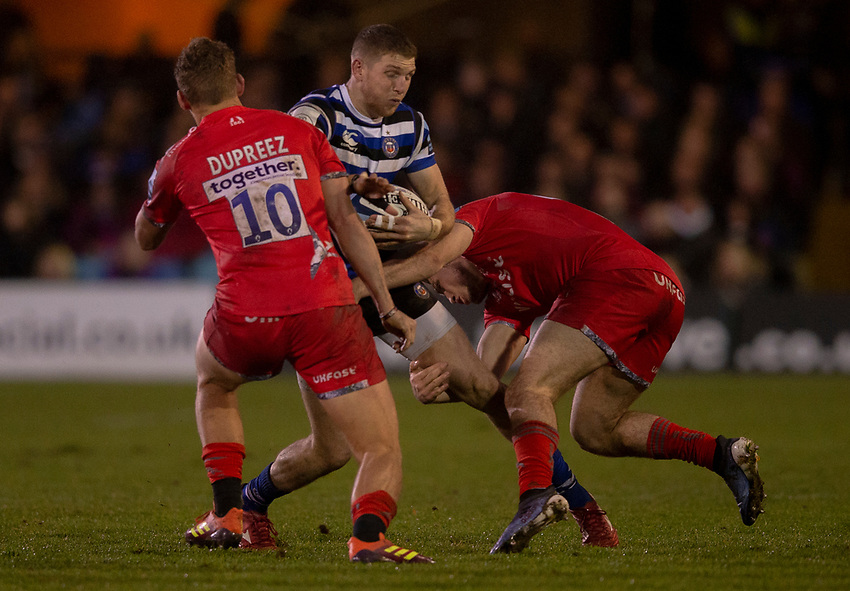 Bath Rugby's Ruaridh McConnochie in action during todays match<br /> <br /> Photographer Bob Bradford/CameraSport<br /> <br /> Gallagher Premiership Round 9 - Bath Rugby v Sale Sharks - Sunday 2nd December 2018 - The Recreation Ground - Bath<br /> <br /> World Copyright © 2018 CameraSport. All rights reserved. 43 Linden Ave. Countesthorpe. Leicester. England. LE8 5PG - Tel: +44 (0) 116 277 4147 - admin@camerasport.com - www.camerasport.com