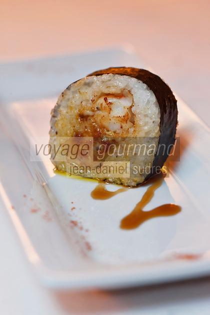 Europe/France/Rhône-Alpes/74/Haute Savoie/Morzine: Makis tièdes de foie gras et gambas juste poelés, recette de Lionel Cotentin du  Restaurant: Le Chalet  Philibert