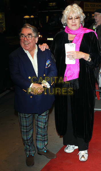 RONNIE CORBETT & ANNE HART .Attends the 'Burke and Hare' World Premiere at The Chelsea Cinema, Kings Road, Chelsea, London, England, UK, 25th October 2010..full length married husband wife couple pink scarf tall shirt glasses tartan green checked plaid trousers navy blue jacket shirt black .CAP/CJ.©Chris Joseph/Capital Pictures.
