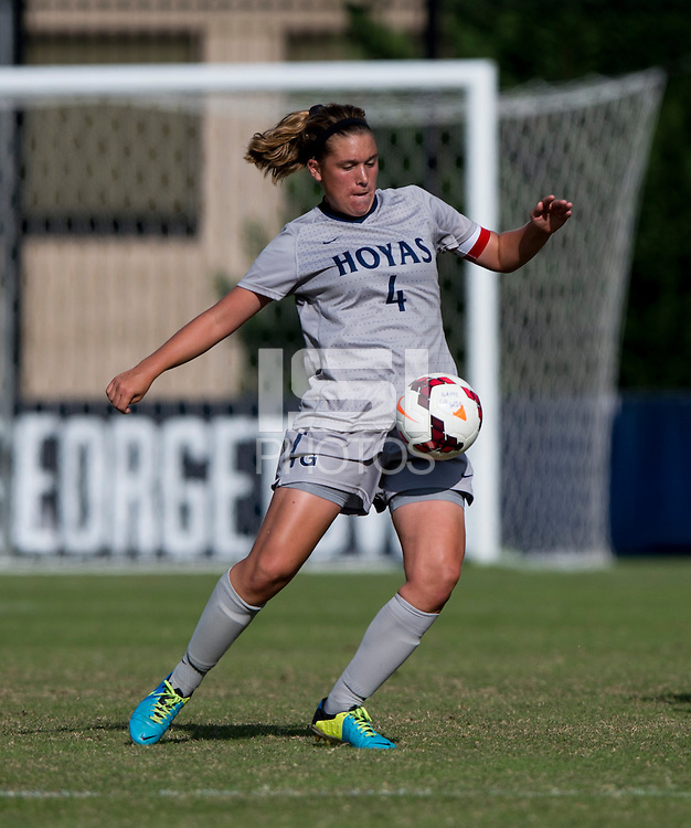 Kaitlin Brenn (4) of Georgetown controls the ball during the game at Shaw Field on the campus of Georgetown University in Washington, DC.  Georgetown tied DePaul, 1-1, in double overtime.