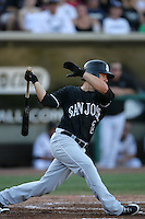 September 6 2009:  Shane Jordan of the San Jose Giants during game against the Lake Elsinore Storm at The Diamond in Lake Elsinore,CA.  Photo by Larry Goren/Four Seam Images