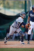 Detroit Tigers catcher Sam McMillan (32) throws down to first base on a pickoff attempt during an Instructional League game against the Atlanta Braves on October 10, 2017 at the ESPN Wide World of Sports Complex in Orlando, Florida.  (Mike Janes/Four Seam Images)