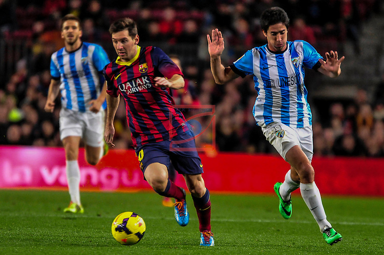League BBVA 2013/2014 - Game: 21.<br /> FC Barcelona vs Malaga CF: 3-0.<br /> Lionel Messi vs Perez.