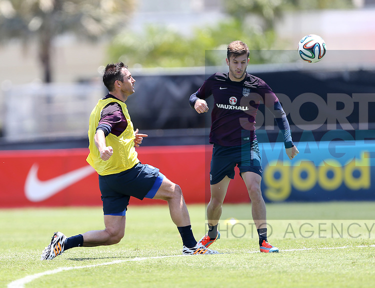 England's Frank Lampard and Adam Lallana in action during training<br /> <br /> England Training &amp; Press Conference  - Barry University - Miami - USA - 06/06/2014  - Pic David Klein/Sportimage