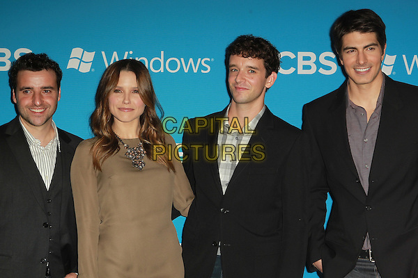 David Krumholtz, Sophia Bush, Michael Urie & Brandon Routh.CBS 2012 Fall Premiere Party Held at At Greystone Manor, West Hollywood, California, USA.  .September 18th, 2012.half length suit beige dress shirt grey gray check black .CAP/ADM/FS.©Faye Sadou/AdMedia/Capital Pictures.