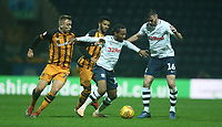 Preston North End's Daniel Johnson watched by with team-mate Andrew Hughes shields the ball from Hull City's Jarrod Bowen<br /> <br /> Photographer Stephen White/CameraSport<br /> <br /> The EFL Sky Bet Championship - Preston North End v Hull City - Wednesday 26th December 2018 - Deepdale Stadium - Preston<br /> <br /> World Copyright &copy; 2018 CameraSport. All rights reserved. 43 Linden Ave. Countesthorpe. Leicester. England. LE8 5PG - Tel: +44 (0) 116 277 4147 - admin@camerasport.com - www.camerasport.com