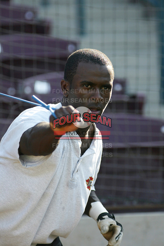 Joey Gathright of the Bakersfield Blaze warms up before a game against the Inland Empire 66ers at Stater Bros Stadium on July 8, 2003 in San Bernardino, California. (Larry Goren/Four Seam Images)
