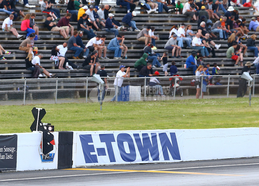 May 31, 2014; Englishtown, NJ, USA; The E-Town banner on the wall at the finish line during NHRA qualifying for the Summernationals at Raceway Park. Mandatory Credit: Mark J. Rebilas-