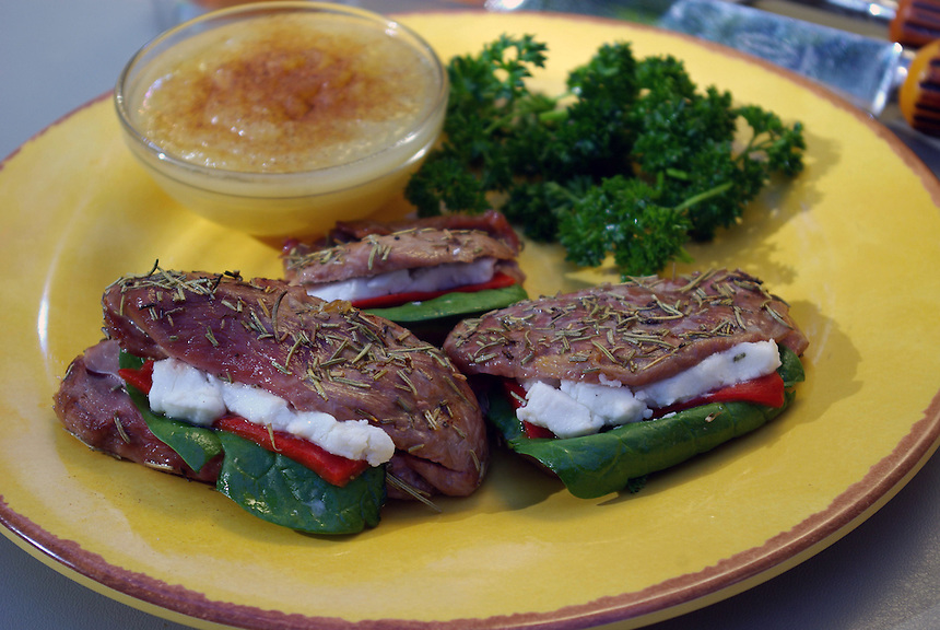 Bobcat, Rosemary Steak Stuffed w  Goat Cheese, Fire-Roasted Pepper, Baby Spinach