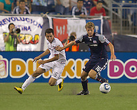 New England Revolution midfielder Jason Griffiths (16) disrupts Chicago Fire midfielder Marco Pappa (16). The Chicago Fire defeated the New England Revolution, 1-0, at Gillette Stadium on June 27, 2010.