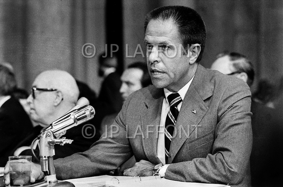 Washington DC, 1973. WH Chief of Staff, H. R. Haldeman during his testimony at Watergate hearings. A break in at the Democratic National Committee headquarters at the Watergate complex on June 17, 1972 results in one of the biggest political scandals the US government has ever seen.  Effects of the scandal ultimately led to the resignation of  President Richard Nixon, on August 9, 1974, the first and only resignation of any U.S. President.