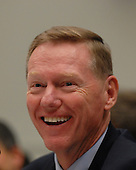 """Washington, DC - December 5, 2008 -- Alan Mulally, President and Chief Executive Officer, Ford Motor Company, smiles during a rare light moment during United States House Financial Services Committee hearing """"On review of industry plans to stabilize the financial condition of the American automobile industry"""" in Washington, D.C. on Friday, December 5, 2008.  He was there with other automotive industry leaders to request $35 billion in loans from Congress to insure their company's survival..Credit: Ron Sachs / CNP"""