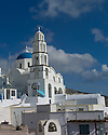 Santorini, Greece. 06.05.2014.  Side view of the church of Agios Nikolaos, Pyrgos. Photograph © Jane Hobson.