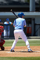 Rhett Aplin (33) of the Burlington Royals at bat against the Greeneville Reds at Burlington Athletic Stadium on July 8, 2018 in Burlington, North Carolina. The Royals defeated the Reds 4-2.  (Brian Westerholt/Four Seam Images)