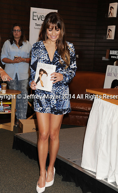 LOS ANGELES, CA- MAY 22: Actress Lea Michele signs copies of her new book 'Brunette Ambition' at Barnes & Noble bookstore at The Grove on May 22, 2014 in Los Angeles, California.