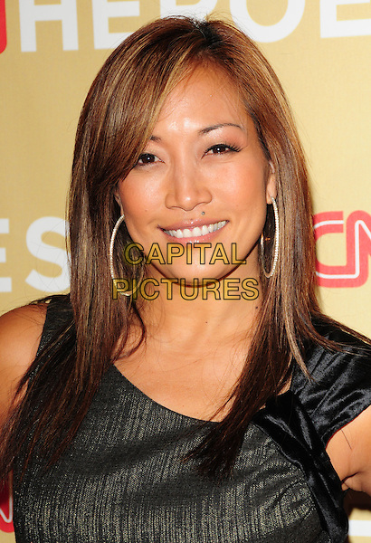 CARRIE ANN INABA .at The 3rd Annual CNN Heroes: An All-Star Tribute held at The Kodak Theatre in Hollywood, California, USA,  November 21st 2009                                                                   .portrait headshot black and gold velvet hoop earrings .CAP/RKE/DVS.©DVS/RockinExposures/Capital Pictures
