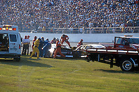 Dale Earnhardt Crash Frame 8.Rescue personel prepare to cut the roof from the car..NASCAR Winston Cup Daytona 500 18 Feb.2001 Daytona International Speedway, Daytona Beach,Florida,USA .© F. Peirce Williams .photography 2001...F.Peirce Williams Photography.P.Box 455 Eaton, OH 45320.317.358.7326  fpwp@mac.com