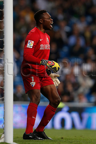 08.05.2013 Madrid, Spain. Idriss Carlos Kameni during the Spanish La Liga game between Real Madrid and Malaga from the Santiago Bernabeu...