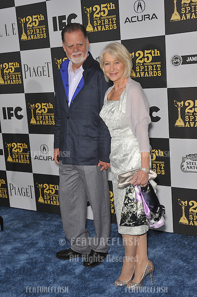 Helen Mirren & Taylor Hackford at the 25th Anniversary Film Independent Spirit Awards at the L.A. Live Event Deck in downtown Los Angeles..March 5, 2010  Los Angeles, CA.Picture: Paul Smith / Featureflash