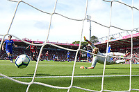 Ryan Fraser of AFC Bournemouth right scores the first goal past Kasper Schmeichel of Leicester City during AFC Bournemouth vs Leicester City, Premier League Football at the Vitality Stadium on 15th September 2018