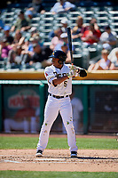Sherman Johnson (5) of the Salt Lake Bees bats against the Albuquerque Isotopes at Smith's Ballpark on April 22, 2018 in Salt Lake City, Utah. The Bees defeated the Isotopes 11-9. (Stephen Smith/Four Seam Images)