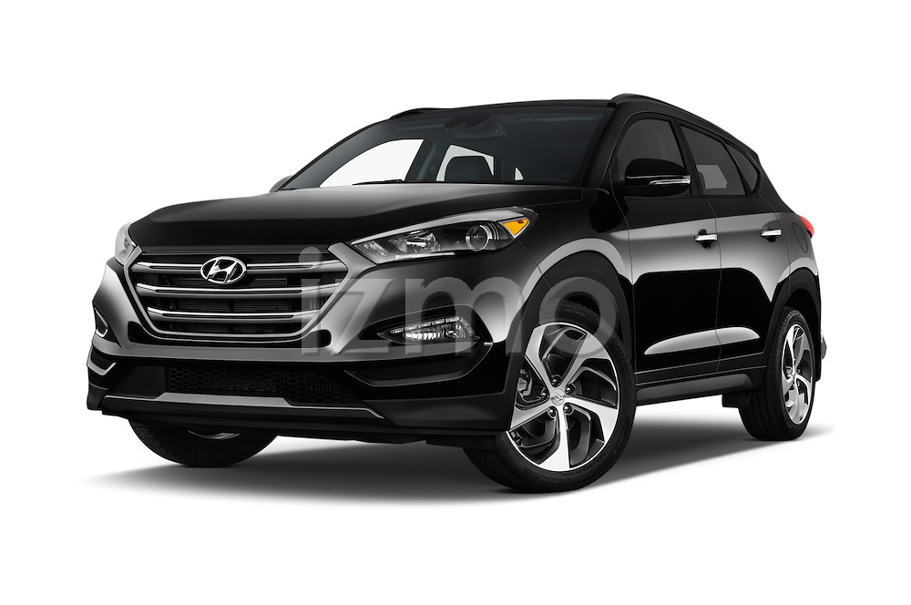 Stock pictures of low aggressive front three quarter view of 2018 Hyundai Tucson Limited 5 Door Suv Low Aggressive