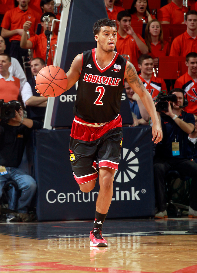 Louisville guard Quentin Snider (2) during an NCAA basketball game Saturday Feb. 7, 2015, in Charlottesville, Va. Virginia defeated Louisville  52-47. (Photo/Andrew Shurtleff)