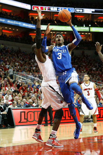 UK forward Nerlens Noel (3) jumps to shoot the ball during the first half of the UK Men's basketball game vs. University of Louisville at KFC Yum! Center in Louisville, Ky., on Saturday, December 29, 2012. U of L won 80-77. Photo by Tessa Lighty | Staff