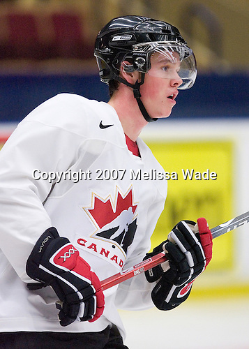 Jonathan Toews (Winnipeg, MB - University of North Dakota Fighting Sioux) took part in Team Canada's morning skate on Friday, January 5, 2007 prior to meeting Russia in the 2007 World Championship gold medal game at Ejendals Arena in Leksand, Sweden.