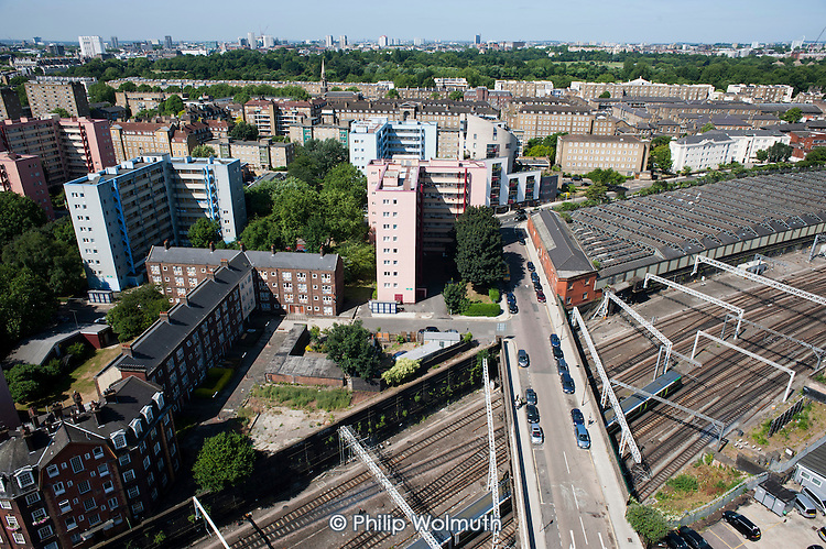 Railway lines pass Regents Park Estate close to Euston station, the proposed site for the London terminal of the HS2 high speed train line.  Under current plans, part of the estate will be demolished.
