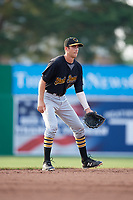 West Virginia Black Bears shortstop Connor Kaiser (59) during a game against the Batavia Muckdogs on July 2, 2018 at Dwyer Stadium in Batavia, New York.  West Virginia defeated Batavia 3-1.  (Mike Janes/Four Seam Images)