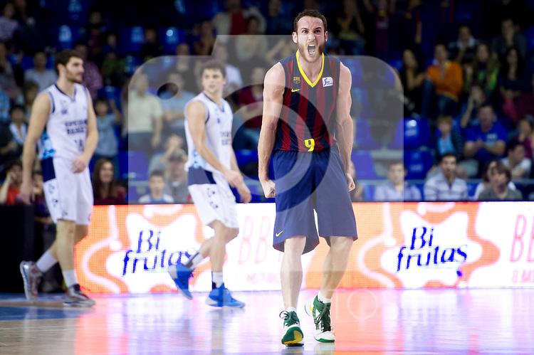 FC Barcelona's Marcelinho Huertas celebrates during Liga Endesa ACB 2013-2014 match against Gipuzkoa Basket Club. November 3, 2013. (ALTERPHOTOS/Alex Caparros)