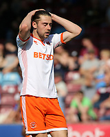 Blackpool's Antony Evans shows his dejection after a chance goes begging<br /> <br /> Photographer David Shipman/CameraSport<br /> <br /> The EFL Sky Bet League One - Scunthorpe United v Blackpool - Friday 19th April 2019 - Glanford Park - Scunthorpe<br /> <br /> World Copyright © 2019 CameraSport. All rights reserved. 43 Linden Ave. Countesthorpe. Leicester. England. LE8 5PG - Tel: +44 (0) 116 277 4147 - admin@camerasport.com - www.camerasport.com