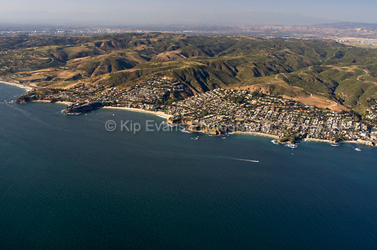 Aerial view of Cameo Cove, Emerald Bay, Crescent Bay, and Shaws Cove, north of Dana Point, looking north.