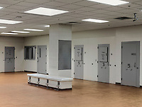 The Holding Room ('H' stands for Holding) in Morgan County Public Safety Complex, Georgia's newest jail (opened in 2012), situated in a former CD warehouse. It has 192 beds, two men per cell.