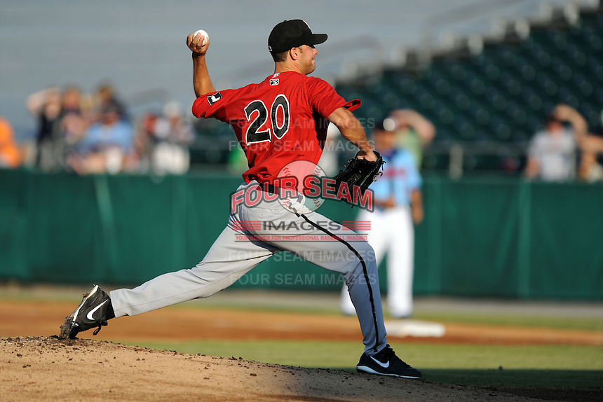 Birmingham Barons starting pitcher Spencer Arroyo #20 delivers a pitch during game three of the Southern League Northern Division Championship Series against the Tennessee Smokies at Smokies Park on September 7, 2013 in Kodak, Tennessee. The Smokies won the game 9-2. (Tony Farlow/Four Seam Images)