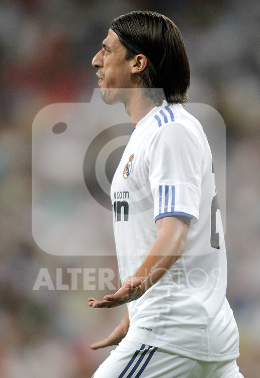 Real Madrid's Sami Khedira reatcs during Bernabeu Trophy. August 24, 2010. (ALTERPHOTOS/Alvaro Hernandez)