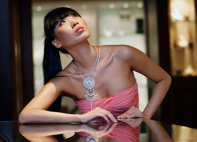 Deborah Veale  Jewellery Launch..Model, Yomiko Chen pictured wearing a selection of Irish Fashion Designer, Deborah Veale's  Jewellery at the official launch in Weir & Son Jewellers, Grafton Street, Dublin.