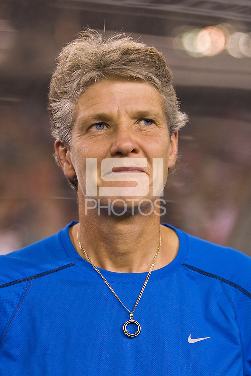 United States (USA) head coach Pia Sundhage. The United States Women's National Team (USA) defeated the Republic of Ireland (IRL) 2-0 during an international friendly at Lincoln Financial Field in Philadelphia, PA, on September 13, 2008.