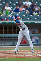 Bo Bichette (13) of the Buffalo Bisons avoids an inside pitch during the game against the Caballeros de Charlotte at BB&T BallPark on July 23, 2019 in Charlotte, North Carolina. The Bisons defeated the Caballeros 8-1. (Brian Westerholt/Four Seam Images)