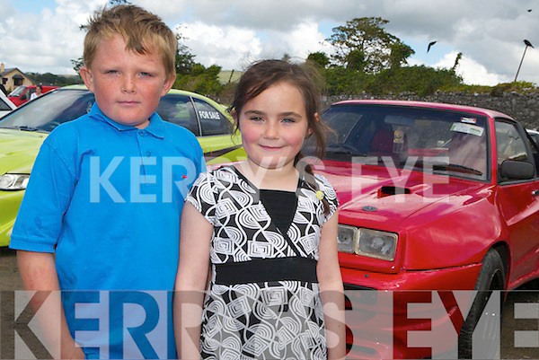 Brother and sister Shane and Shannon McInerney loved the exhibition of cars at Tralee Racecourse on Monday..