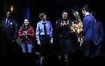 Brian Tyree Henry, Bel Powley, Michael Cera and Chris Evans, Kenneth Lonergan during the the Broadway Opening Night Performance curtain call for 'Lobby Hero' at The Hayes Theatre on March 26, 2018 in New York City.