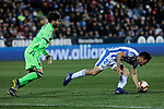 CD Leganes's Oscar Rodriguez and Levante UD's Jose Angel Gomez Campana during La Liga match between CD Leganes and Levante UD at Butarque Stadium in Leganes, Spain. March 04, 2019. (ALTERPHOTOS/A. Perez Meca)