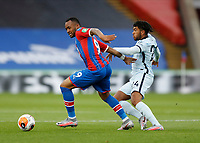 7th July 2020; Selhurst Park, London, England; English Premier League Football, Crystal Palace versus Chelsea; Jordan Ayew of Crystal Palace is being challenged by Reece James of Chelsea
