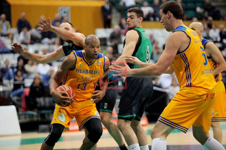 League ACB-ENDESA 2016/2017. Game: 28.<br /> Divina Seguros Joventut vs Herbalife Gran Canaria: 86-72.<br /> Eulis Baez, Alberto Abalde &amp; Darko Planinic.