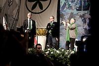 Bergamo 10-04-2012: Roberto Maroni e Umberto Bossi partecipano alla «Serata dell'orgoglio leghista», dopo lo scandalo  dell'inchiesta sui fondi della Lega...Bergamo 10-04-2012: Roberto Maroni e Umberto Bossi attend the Padania Pride political convention