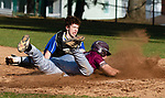 SEYMOUR,  CT-041019JS15- Naugatuck's Derrick Jagello(10) slides in to score on a base hit by Michael Natkiel (8), as he gets past the tag by Seymour's Justin Bennett (11)  during their game Wednesday at French Memorial Park in Seymour. <br /> Jim Shannon Republican American