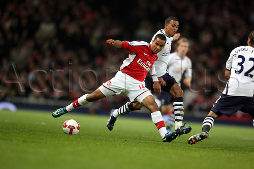 29 October 2008: Arsenal winger Theo Walcott with the ball during the Premier League game between Arsenal and Tottenham Hotspur, played at The Emirates Stadium. The game finished 4-4 Photo: Action Plus..081028 soccer football player